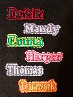 Personalised Embroidered Name Patch Badge B1 Iron On Sew On • 3.45£
