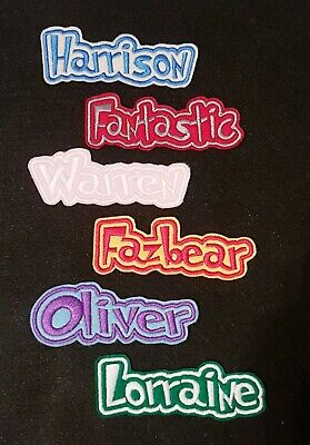 Personalised Embroidered Name Patch Badge D1 Iron On Sew On • 3.40£