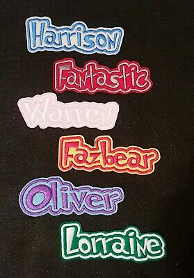 £3.45 • Buy Personalised Embroidered Name Patch Badge D1 Iron On Sew On