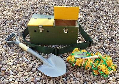 DOUBLE FERRET BOX & SPADE SET + 10 X 4ft RABBIT PURSE NETS WITH PEGS FERRETING • 85£