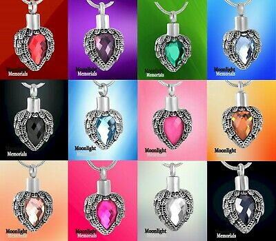New Angel Wings Birthstones Crystal Cremation Urn Ashes Holder Memorial Necklace • 10.69£