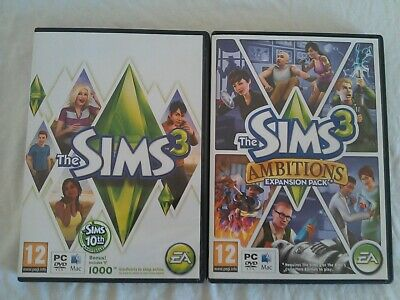 Sims 3 The 10th Anniversary And Ambitions Expansion Pack Windows PC Or Mac DVD • 7.95£