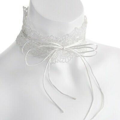Ladies White Color Lace Effect Double String Tie Up Choker Girl Necklace Jewelry • 3.99£