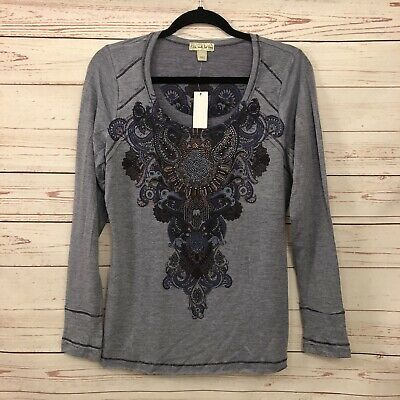 $17.50 • Buy Live And Let Live Women's Size L Embellished Top Shirt Boho Purple Striped NWT