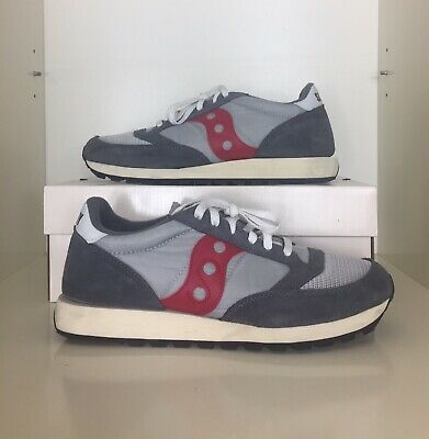 Saucony Jazz Original Vintage Size 10 45 Mens Trainers Grey/Red/White • 34.99£