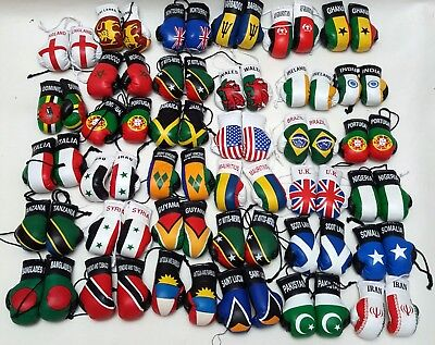 Car Van Boxing Gloves HANGING DECORATION Country Flag Leather PAIR SET • 5.99£