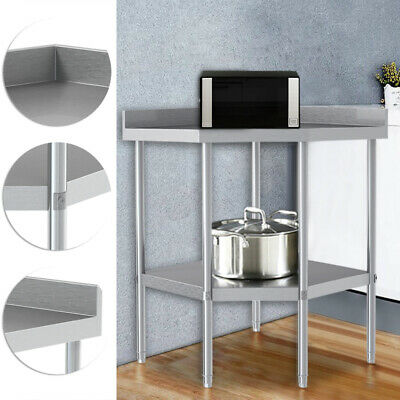 Stainless Steel Commercial Double Layer Catering Table Work Bench Kitchen Top UK • 175.95£
