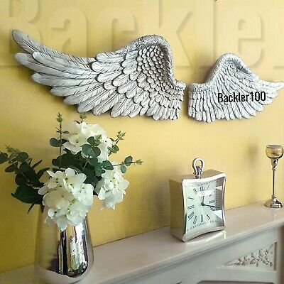 Large Pair Of ANGEL WINGS Aged Silver Finish Sculpture WALL HANGING Horizontal  • 59.99£