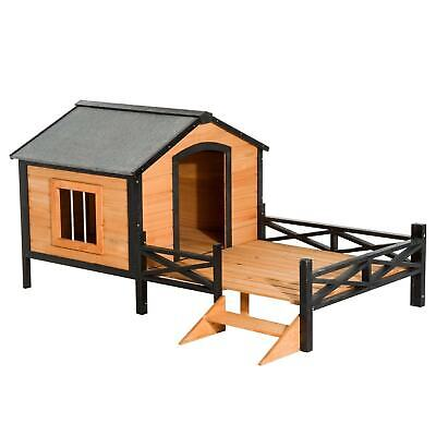 $220.94 • Buy PawHut 67  X 40  Wooden Cabin Outdoor Covered Elevated Dog Brown Large