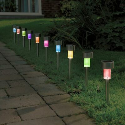 £11.99 • Buy 10x Solar Powered Colour Changing LED Stake Lights Garden Decor Lamps Steel
