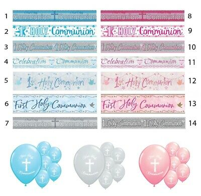First Holy Communion 1st Holy Communion Banners Pink Blue Silver Decorations • 1.50£