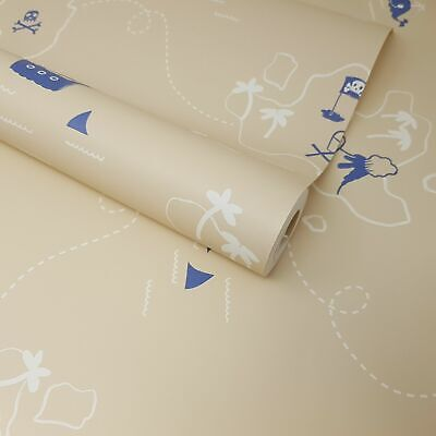 Kids Children's Boys Beige Nautical Sea Pirates Treasure Map Sharks Wallpaper • 6.49£