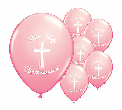 10 X PINK FIRST HOLY COMMUNION 12  HELIUM BALLOONS PARTY DECORATIONS  (PA) • 2.29£