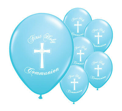 10 X BLUE FIRST HOLY COMMUNION 12  HELIUM BALLOONS PARTY DECORATIONS  (PA) • 2.29£