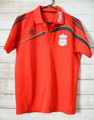 Adidas Liverpool Football Club Polo T Shirt Size Medium Large  Red Black • 26.93£
