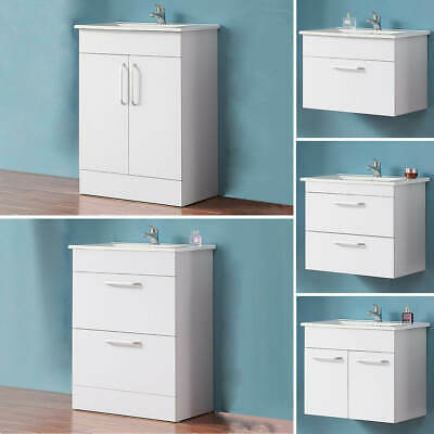 Aica White Bathroom Vanity Unit With Basin Sink Floorstanding & Wall Hung 600mm • 29.77£