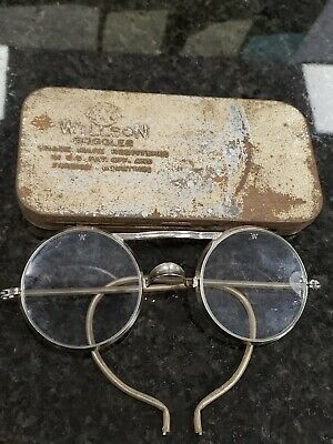 $45 • Buy Original Antique Willson Goggles, Steampunk, Vintage Glasses W/tin Damaged