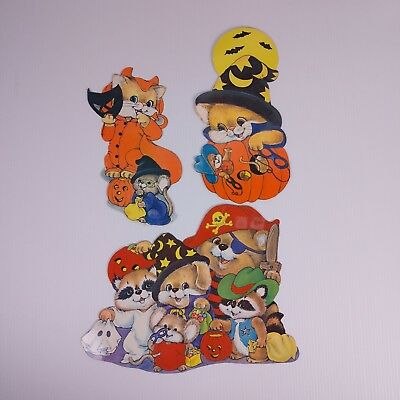 $ CDN39.62 • Buy Vintage Halloween Paper Die Cuts Lot Of 3 Devil Cat Pumpkin Trick Or Treaters