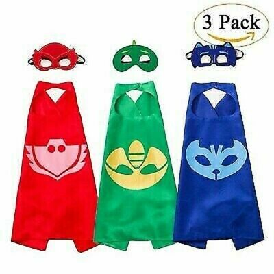 PJ Masks Cape & Mask Boys Superhero Costume Kids Fancy Dress Child UK • 10.79£