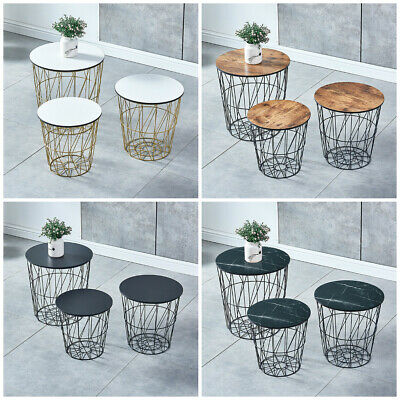 Set Of 3 Round Nesting Tables End Table Side Table Metal Wire Storage Basket BN • 63.99£