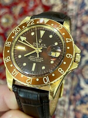 $ CDN31903.96 • Buy 1965 Rolex GMT-Master Ref. 1675 18k Gold W/ Concorde Hands & Brown Leather