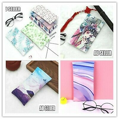 AU5.99 • Buy Mouth Snapped Sunglasses Eyeglass Leaves Glasses Case Soft Pouch Bag Pocket