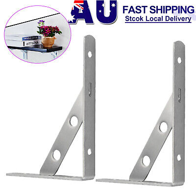 AU17.85 • Buy 2PCS Stainless Steel Table Shelf Support L-shaped Wall Shelves Bracket Holder