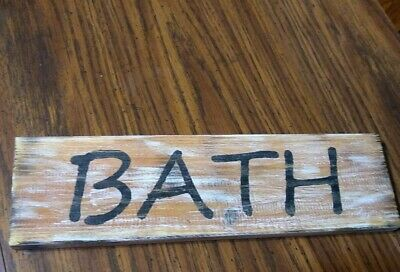 12  X 3.5   Rustic Wood Sign  Bath  Distressed Handmade Wall Hanger New • 6.26£