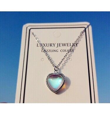 £3.69 • Buy Heart Moonstone Pendant 925 Sterling Silver Chain Necklace Womens Jewellery Gift