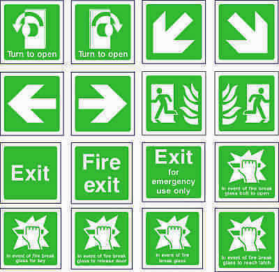NO 4 Emergency Escape/Fire Exit Self Adhesive Vinyl Sticker All Sizes • 0.99£