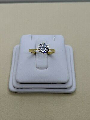 $6.50 • Buy Yellow Plated 1.25ct Round CZ Solitaire Ring Size 6.5