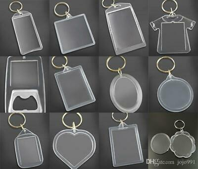 Clear Acrylic Plastic BLANK KEYRINGS Photo Inserting (all Shape And Sizes) UK)) • 0.99£