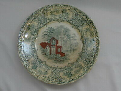 $39 • Buy Petrus Regout Maastricht 9  Plate Antique Made In Holland ABBEY Green & Red