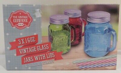£16.99 • Buy The Vintage Company Glass Jars With Lids And Coloured Straws 3*16oz