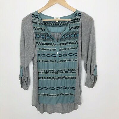 $ CDN29.26 • Buy Tiny Anthropologie Top Small Goldsmith Henley Gray Blue Silk Front Split Neck