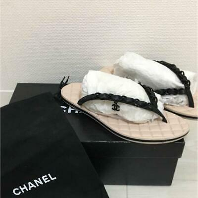 £400.35 • Buy Auth CHANEL CC Charm Chain Flip Flops Thong Beach Sandals Size 35 Black Used F/S