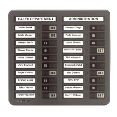 Indesign In / Out Board / 20 Names / Grey WPIT20I New + Free 24h Delivery • 92.95£