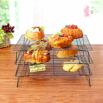 3 Tier Kitchen Stacking Cooling Rack Biscuits Cakes Pastry Home Bakeware UK • 10.31£