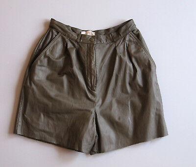 $17.99 • Buy Vintage 90s High Waist Leather Shorts 8 Green 22  Cut Offs