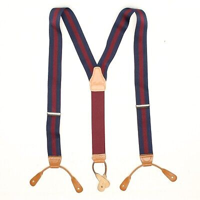 $39.99 • Buy Brooks Brothers Mens Braces Suspenders Navy Blue Burgundy Chase Stripe Leather