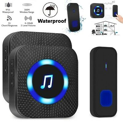 Wireless Door Bell Waterproof Doorbell Wall Plug In Loud Chime LED Flash 1+2 UK • 16.49£