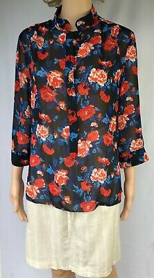 AU15 • Buy SASS  Size 10 Women  Floral Top Blouse Shirt  Long Sleeves Casual Office Work