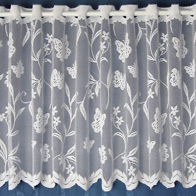 £2.25 • Buy Meadow Butterfly & Floral White Cheap Lace Cafe Net Curtain - SOLD BY THE METRE