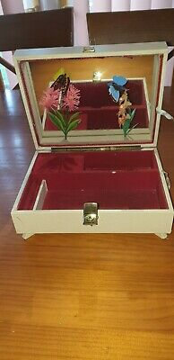 *rare* Vintage Reuge Musical Jewellery Box With Internal 3d Butterflies /inc Key • 38.99£