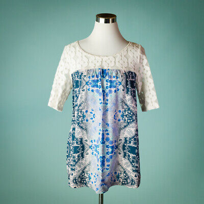 $ CDN38.07 • Buy Anthropologie Akemi Kin Large Size L Top Maite Short Sleeve Lace Print Tunic