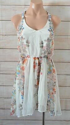 AU29 • Buy Bershka Fit Flare Dress Size Small White Orange Blue Pink Floral Sleeveless
