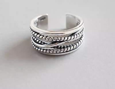 £12 • Buy 925 Sterling Silver Chunky Ring Adjustable Stacking Statement Women Thumb Ring