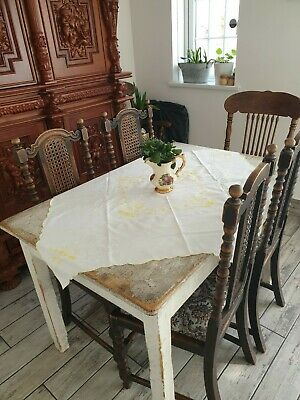 Small French Linen Square Table Cloth With Lovely French Embroidery • 15£