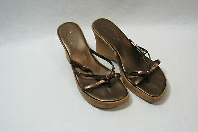 $12.99 • Buy Callisto Sandals Bronze Wedge Heels  Size 10 Women's