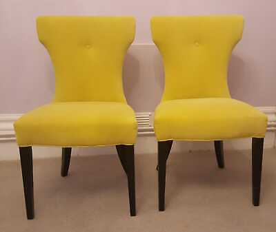 2 Dining Chairs-sweet Pea & Willow-upholstered In Designers Guild Yellow Velvet • 400£